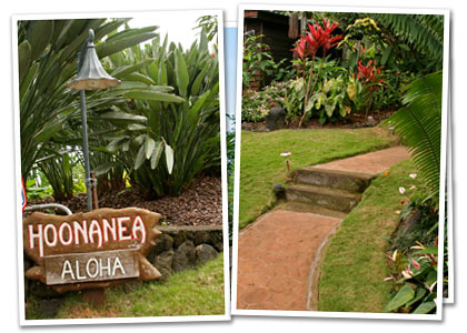 A photo showing the Ho'onanea sign, and another showing the main walkway to the house